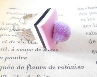 Ring adjustable polymer clay pink licorice.
