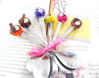 Polymer clay macaron dessert spoons