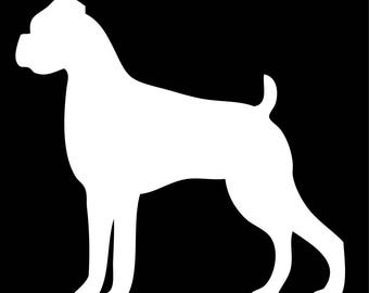 Boxer Dog Silhouette Vinyl Decal