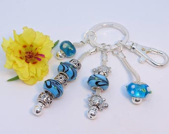 """Bag charm """"Bermuda"""" Murano beads, silver findings, clip clasp and snake chains."""
