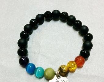 Bracelet beads 7 chakras - onyx and black satin (8 mm) + tree of life