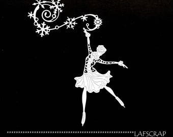 woman skating scrapbooking cuts artistic wire snowflakes Christmas Scrapbook die cuts embellishment ice skates