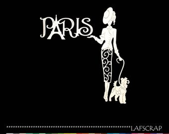 cuts scrapbooking woman hat, dress lace Word paris dog animal cutting die cut paper embellishment