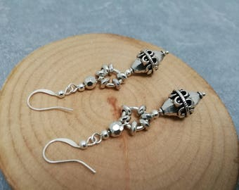 Earrings, tribal ethnic earrings, silver jewelry handmade