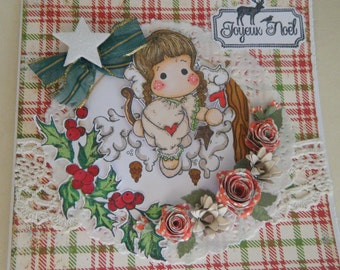 Greeting card with an adorable little Christmas Angel