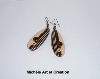 Earrings long brown and beige polymer clay