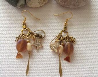 Earrings gold and brown tones