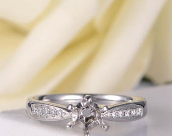 White Gold Semi Mount Diamond Ring Setting Engagement Ring Solitaire Half Eternity Wedding Bridal Promise Women Anniversary Gift for Her