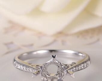 Unique Engagement Ring Semi Mount White Gold Wedding Ring Bridal Half Eternity Diamond Band Prong Setting Anniversary Star Women Promise