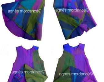 "Reversible dress ""daughter of the wind"" - 2 dresses in 1-100% pure Merino Wool felt - OOAK"