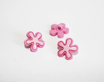 2 pink flower buttons and fuchsia, set of 2 buttons, shank button