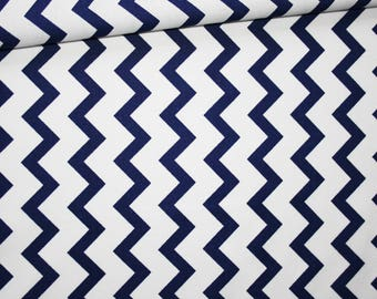 Chevron, 100% cotton fabric printed 50 x 160 cm, zigzag, chevron, Navy Blue and white