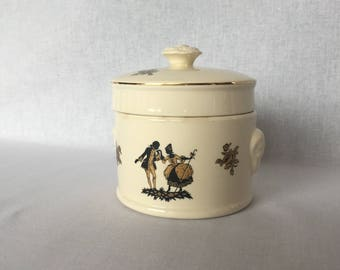 Old stamped pot for foie gras, 1920 - 1950 Sarreguemines, decorated Trianon, Vintage France