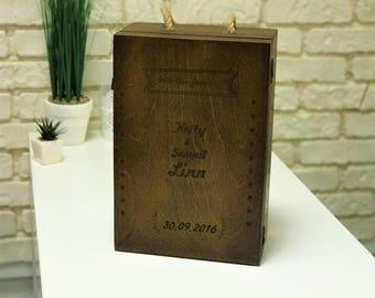 Customized wine box Wedding Time capsule Keepsake ideas Memory box Engraved wine box Wine ceremony box Anniversary Gift for couple