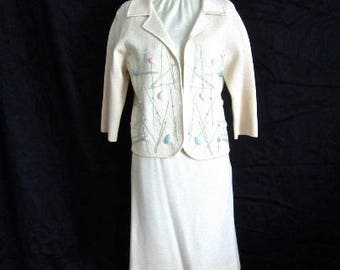 S M 60s 3pc Suit Dress Italian Wool Knit Sweater Jacket Skirt Shell Top Cream Mid Century Mod Graphic Pink Blue Embroidered Gentucca Small