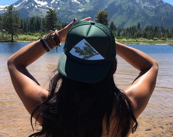 California coastal redwood hand-painted dark green trucker hat