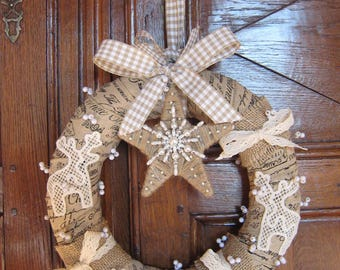 Wreath made of linen and lace shabby chic