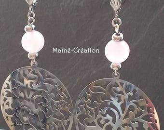 Earrings tree of life and pink Quartz