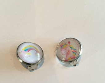 Unicorn clip earrings