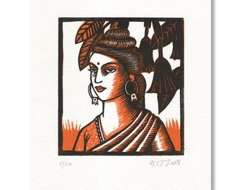 "Linocut ""Woman in orange sari"" / Linocut ""Woman in orange sari"""