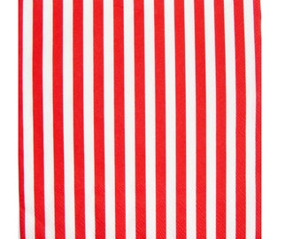 Set of 3 napkins HOD067 red and white stripes