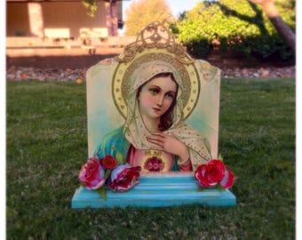 15% OFF SALE! Virgin Mary, plaque, shrine, altar, nicho, Catholic gift, Virgin Mary Gift, religious, retablo , catholic