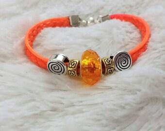 bright orange braided cord bracelet
