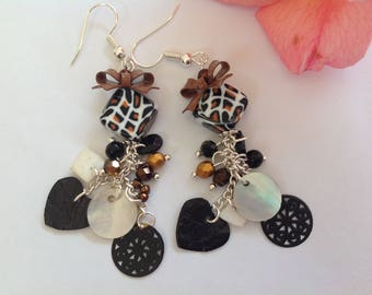 Earrings Bohemian retro black white and gold, mother of Pearl charms and Czech beads, silver metal hooks