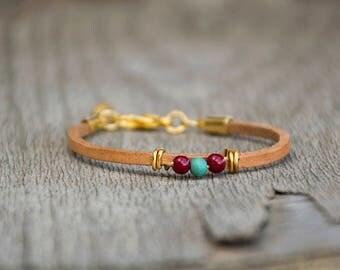 Multi Color Bracelet, Leather Bracelet For Women With Beads, Delicate Bracelet, Leather Bracelet, Glass Beads Bracelet, Ideal Gift For Her.