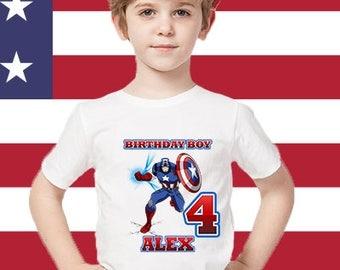 Captain America Birthday Shirt, Captain America Custom Shirt, Personalized Captain America Captain America  family shirts, Birthday t-shirts