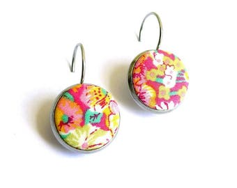 Earrings fabric liberty Chive G is handmade in France