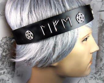 Custom Leather Headband, Elder Futhark Runes, Druid, Pagan Headpiece, Black Leather Headpiece
