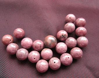 21 pink Rhodonite stone beads * 1.2 cm *.