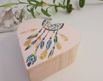 """Dream catcher"" heart shaped wooden box, wooden box, rustic box"