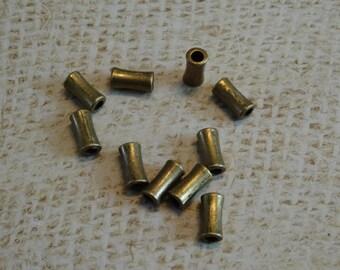 10 pearls 11mm bronze color metal tube
