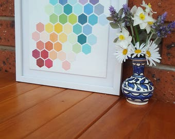 Bright coloured hexagons on canvas