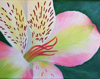 Peruvian lily flower acrylic original wall art 9in*12in. Alstroemeria flower painting for a living room, bedroom, dining area