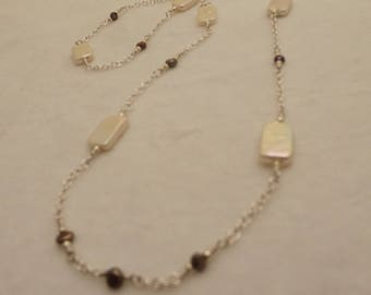 pearl and sterling silver chain necklace