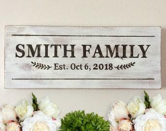 Custom Family Name Established Year Wood Sign