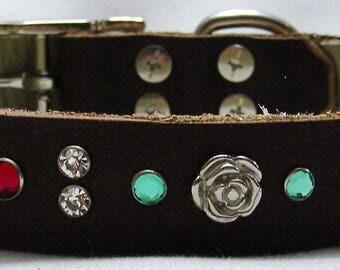 Handmade Leather Dog Collar - Glittering Roses