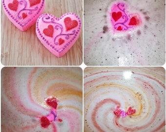 I Love You More Bath Bomb | Kiwi Strawberry Scented | Heart Shaped Bath Bomb | Girlfriend or Wife Gift | Unique Bath Bombs