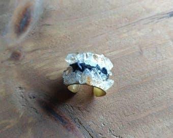 Lapis Lazuli & Citrine Stone Cuff Ring