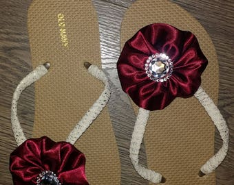 Gold with burgundy bow flip flop