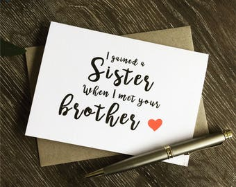 Sister in Law gift, To my sister in law on my wedding day,To my Sister-in-Law card funny, Card for sister in law, Sis-in-law card