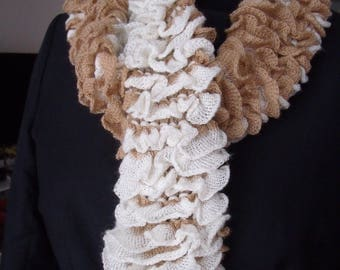 Scarf hand knitted reversible frou-frou woolen