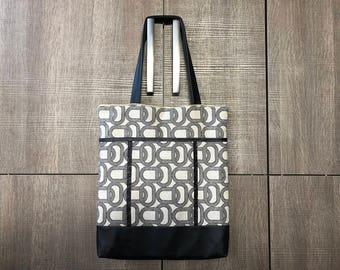 Bag, tote bag, Tote, graphic fabric and faux leather, shoulder, large size