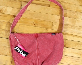 Vintage Deadstock Red Denim Purse/80s jean purse