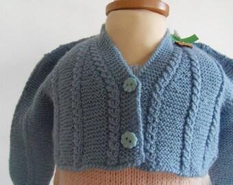 Vest / Bolero blue with small cables