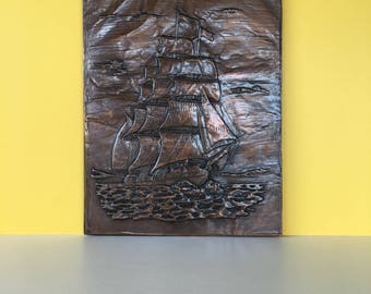 Vintage Copper Relief Ship Wall Art, Embossed Copper, Nautical Decor