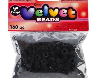 Darice Velvet Beads 6X9mm Black